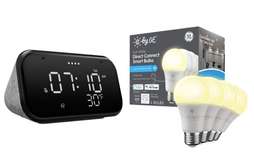 Lenovo Smart Clock Essential + 4-Pk C by GE Direct Connect Smart A19 LED Bulbs