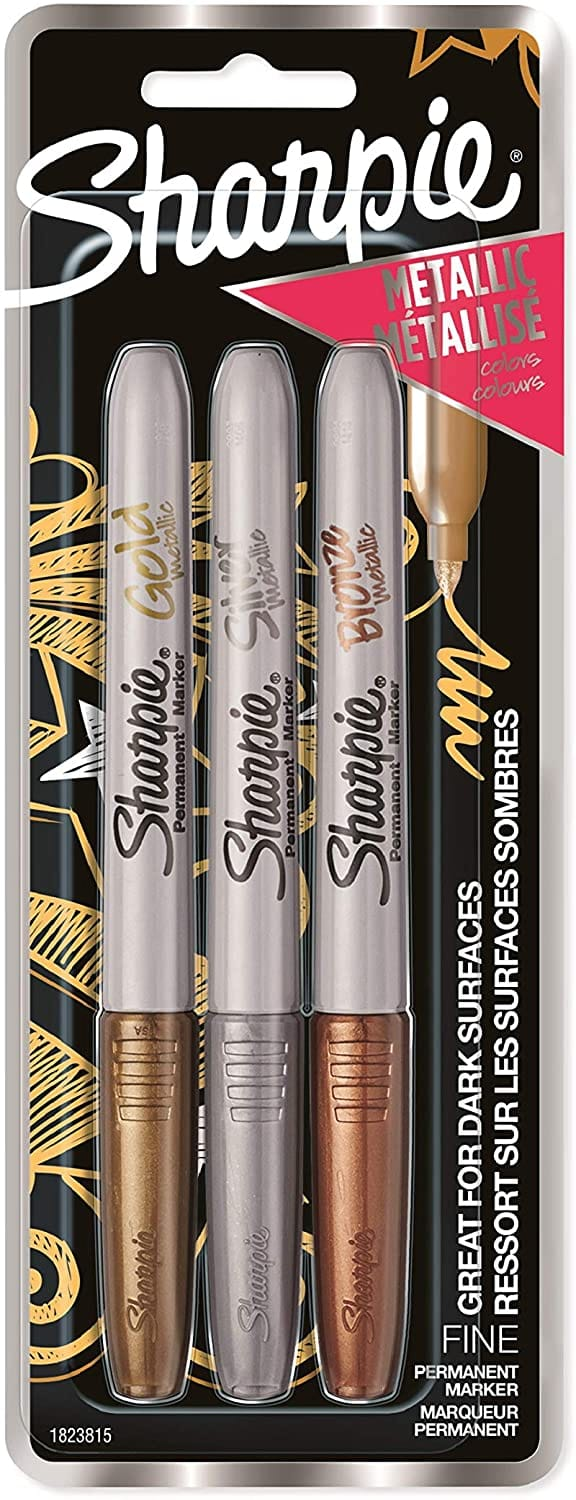 3-Pack Sharpie Metallic Permanent Markers (Gold, Silver, Bronze)