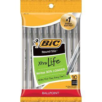 10-Count BIC Round Stic Xtra Life Medium Point Ball Pen (Black or Blue, 1.0mm)