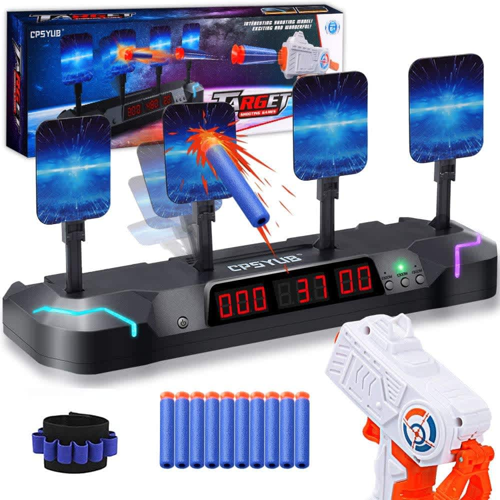 Cpsyub Electronic Shooting Target with Foam Darts and Toy Gun