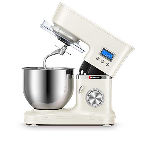 Hauswirt Stand Mixer, 3-IN-1 Tilt-Head 5.3-Qt Electric Kitchen Tool with Digital Timer, 8 Speeds & Pulse, Planetary Mixing, Includes Stainless Steel Metal Dough Hook