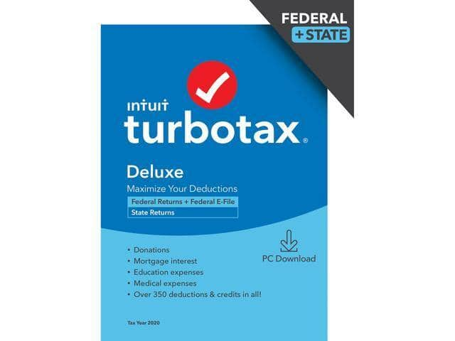 TurboTax 2020 Tax Software (Download: Federal + State): Premiere $50, Deluxe