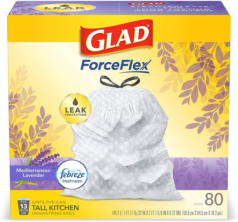 Glad ForceFlex 13-Gallon Tall Kitchen Drawstring Trash Bag 80-Pack