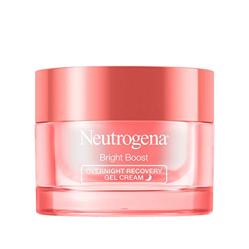 Neutrogena Bright Boost Overnight Recovery Gel Cream with Neoglucosamine, Brightening Nighttime Moisturizer, Oil-Free & Non-Comedogenic, 1.7 oz