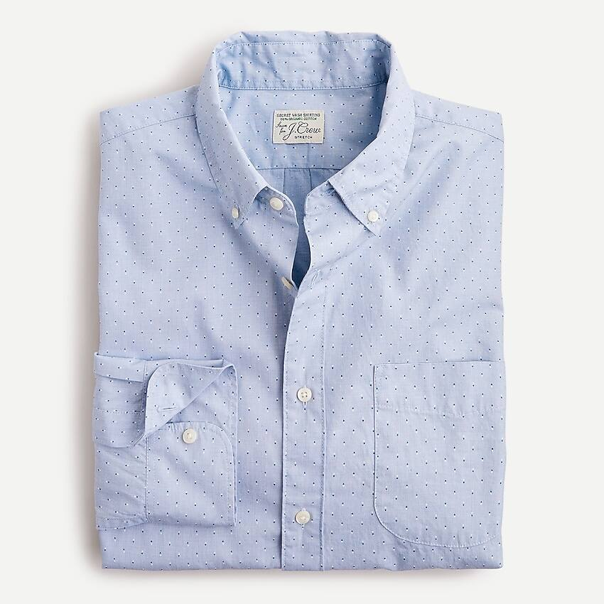 J.Crew Men's Slim Stretch Cotton Poplin Shirt (Diamond Dobby Blue Eoe)