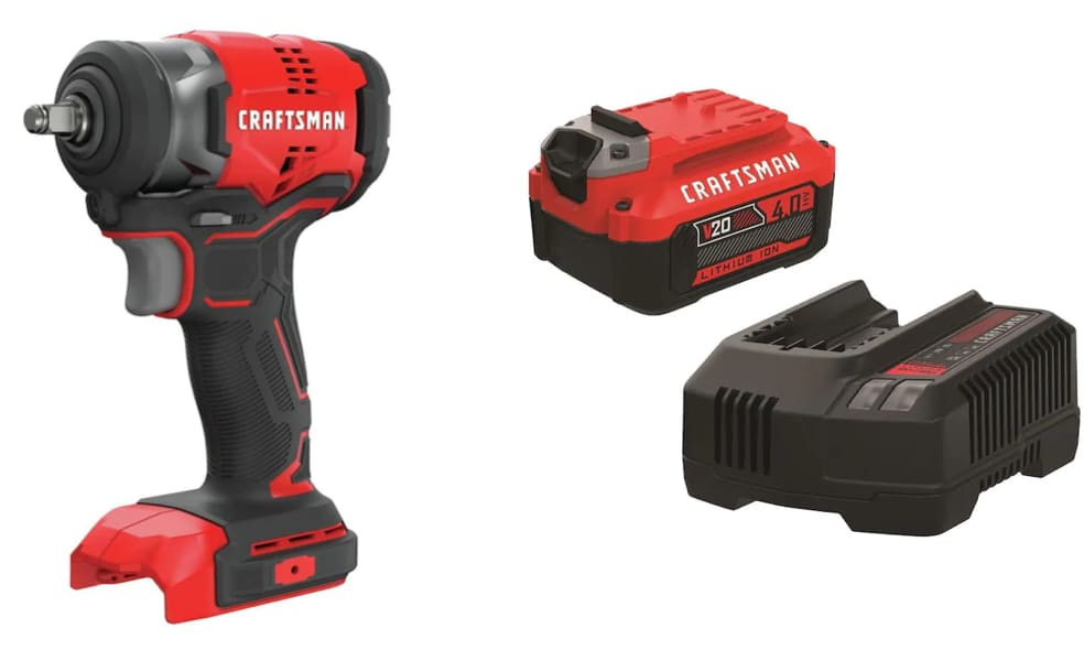 Craftsman 20V Max Cordless Impact Wrench w/ Battery Kit