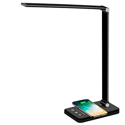 Multifunctional LED Desk Lamp with Wireless Charger, USB Charging Port, 5 Lighting Modes,5 Brightness Levels, Sensitive Control, 30/60 min Auto Timer, Eye-Caring Office Lamp