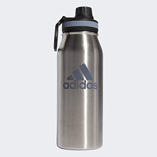 adidas Unisex 18/8 Stainless Steel 1L Hot/Cold Insulated Metal Bottle, Stainless Steel/Raw Steel, ONE SIZE