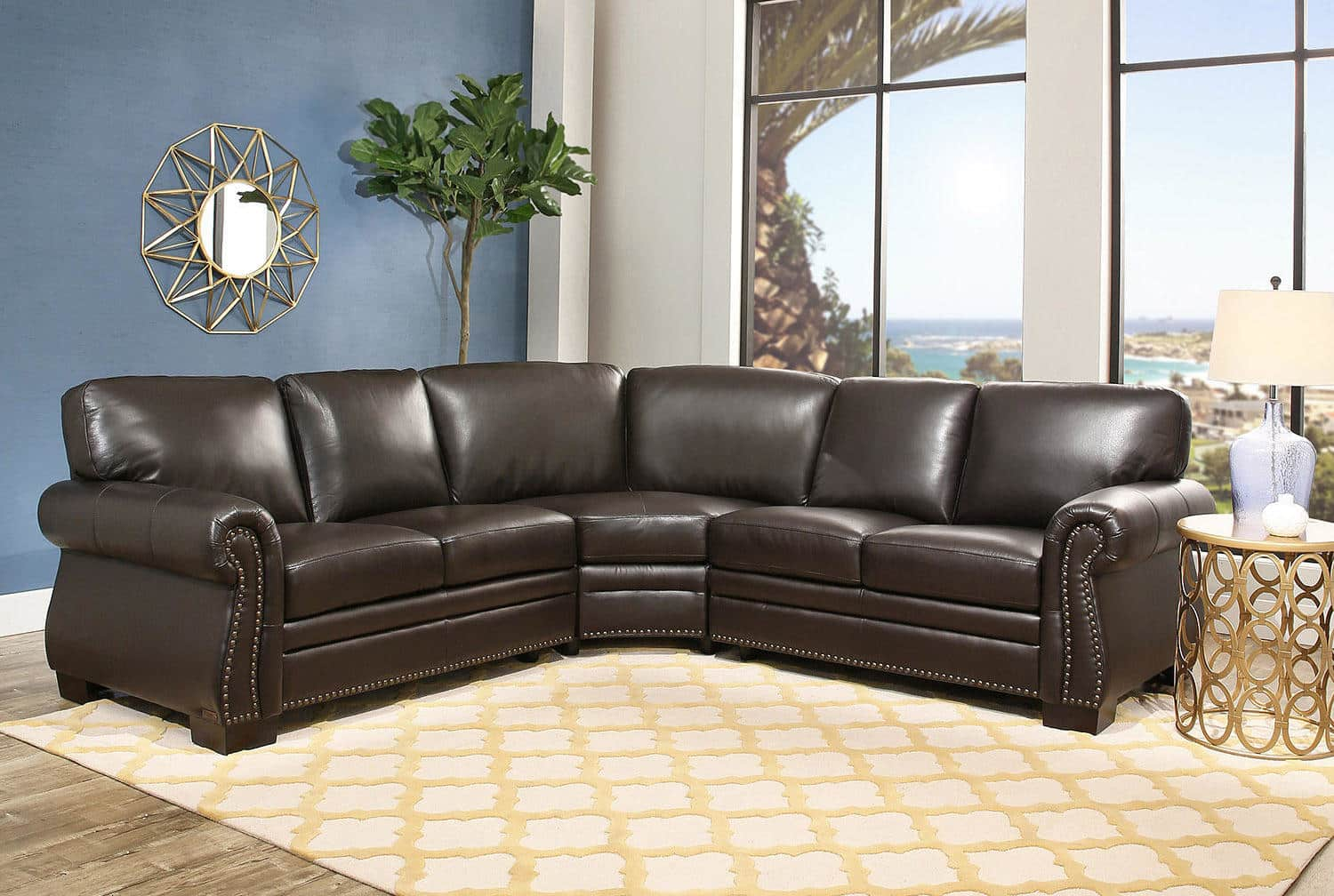 Abbyson Living Blakely Top-Grain Leather Sectional Sofa