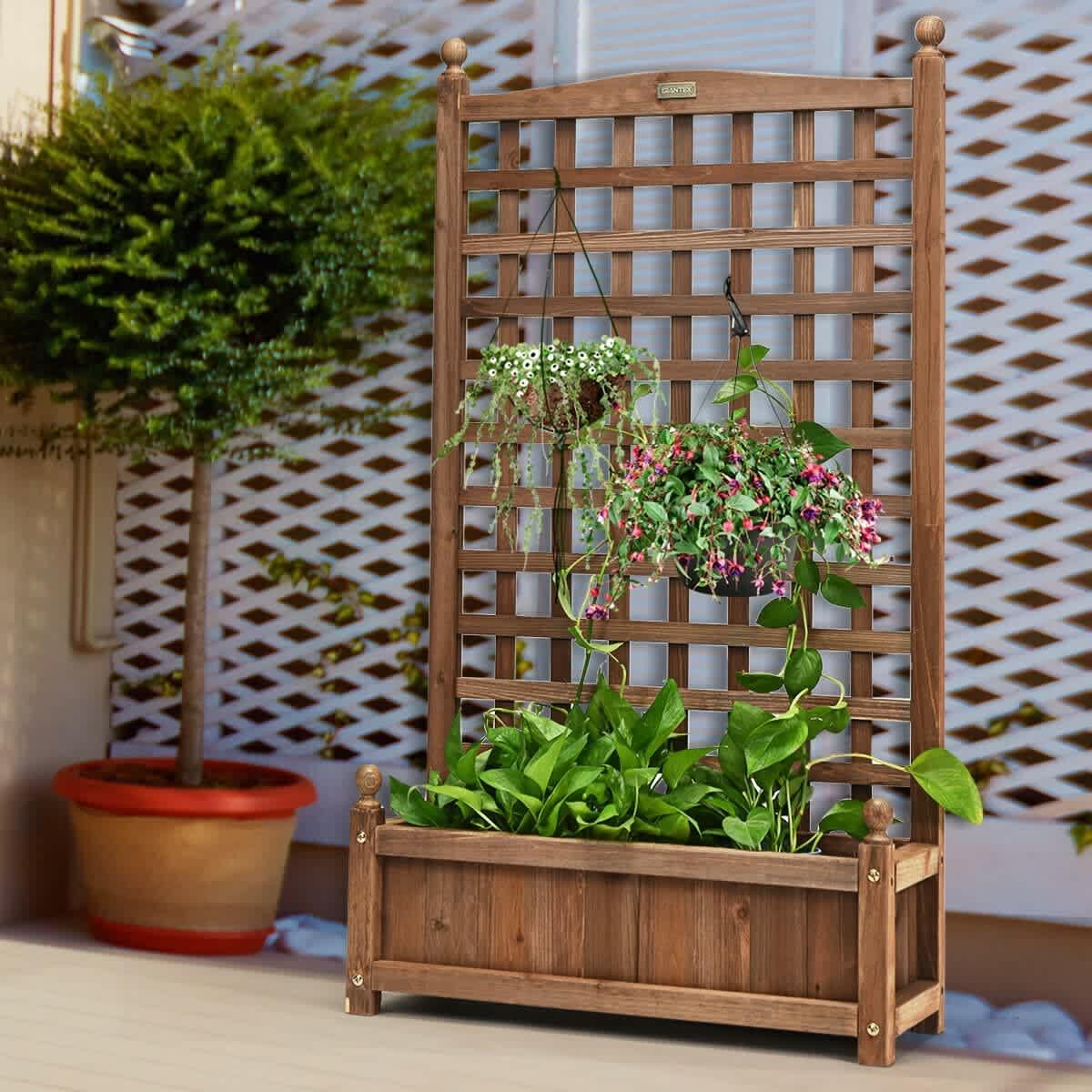 Costway Wood Planter Box with Trellis