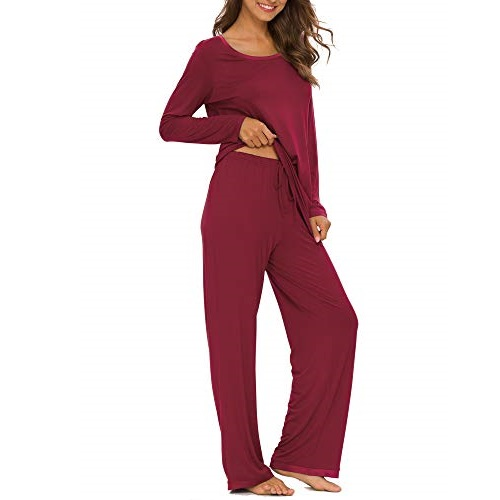 TIKTIK Womens Pajama Set Long Sleeve Sleepwear Scoop Neck Pjs Sets S-4XL