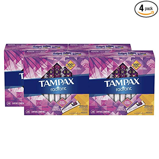 Tampax Radiant Plastic Tampons, Regular Absorbency