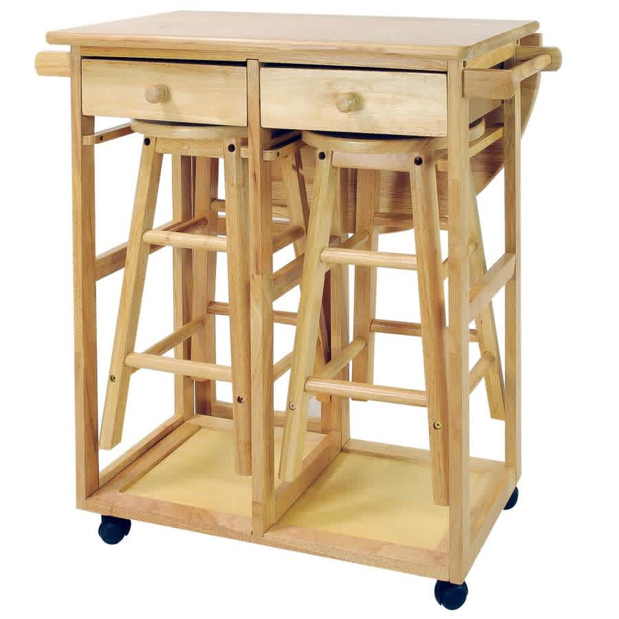 Casual Home Hardwood Drop Leaf Breakfast Cart Set