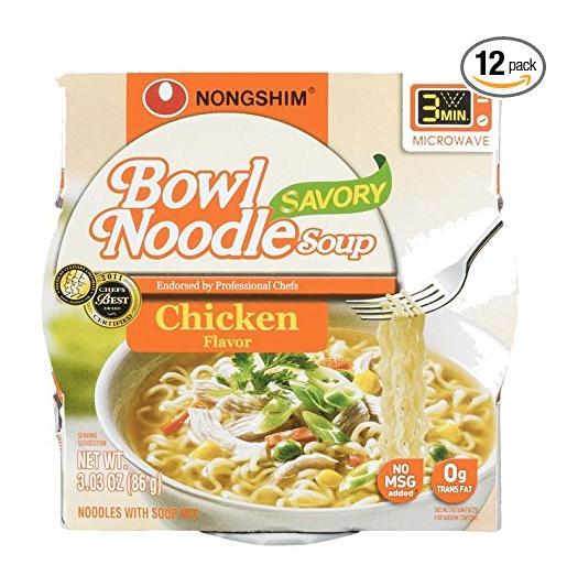 NongShim 农心大碗鸡汤拉面,3.03 oz/盒,共12盒