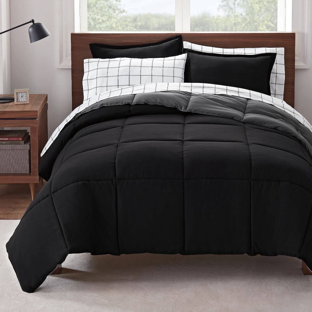 Serta Simply Clean Antimicrobial Reversible Comforter Set w/ Sheets