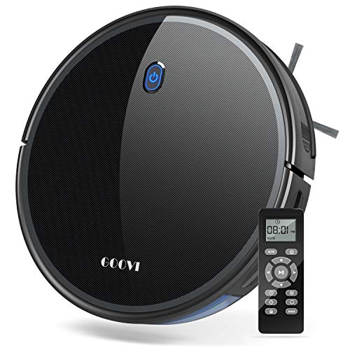 Robot Vacuum, GOOVI 1800Pa Robotic Vacuum Cleaner (Slim) Max Suction, Quiet Multiple Cleaning Modes, Self-Charging Vacuum, for Pet Hair, Hard Floor, Medium-Pile Carpets