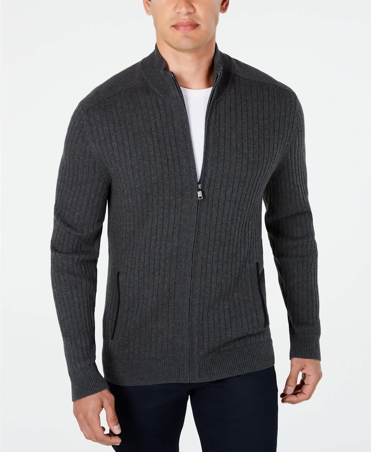 Alfani Men's Ribbed Full-Zip Sweater