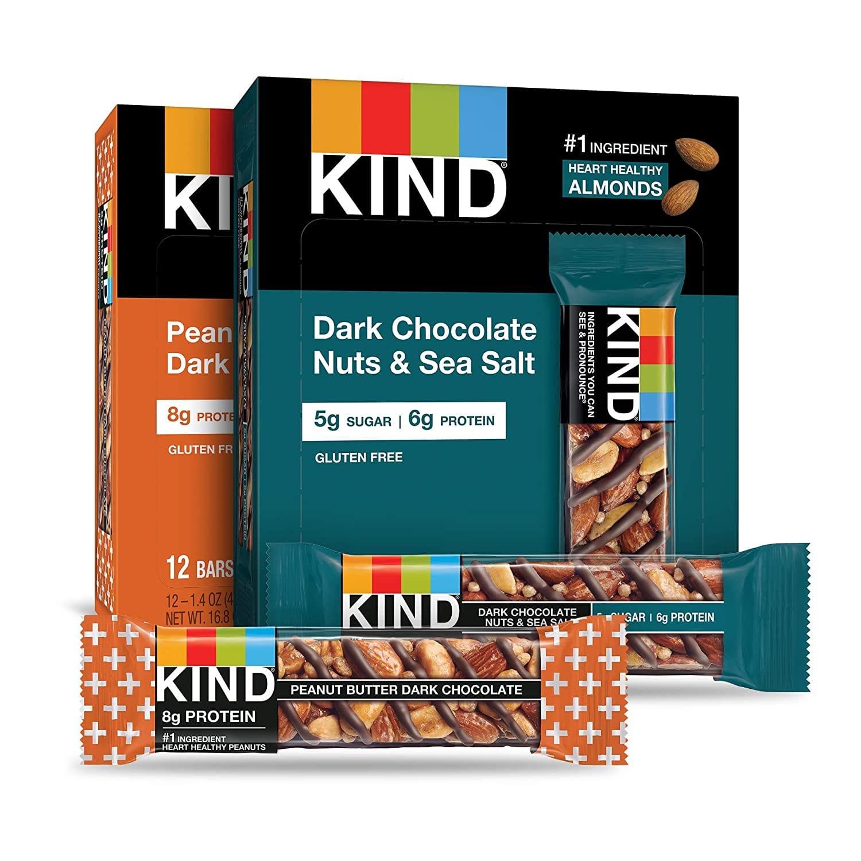 24-Ct 1.4oz KIND Bars (12x Dark Choc Nuts & Sea Salt + 12x Peanut Butter Dark Choc)