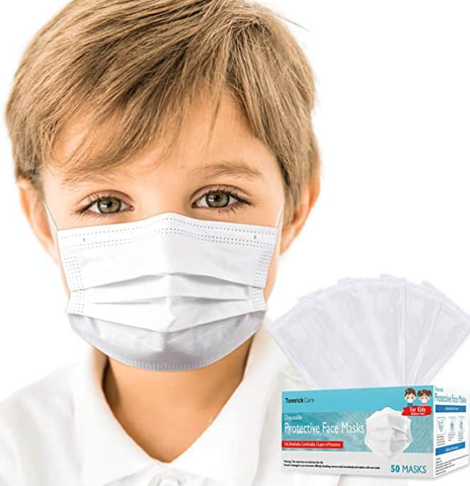 50 TomrickCare Individually Wrapped Kids Disposable Face Masks