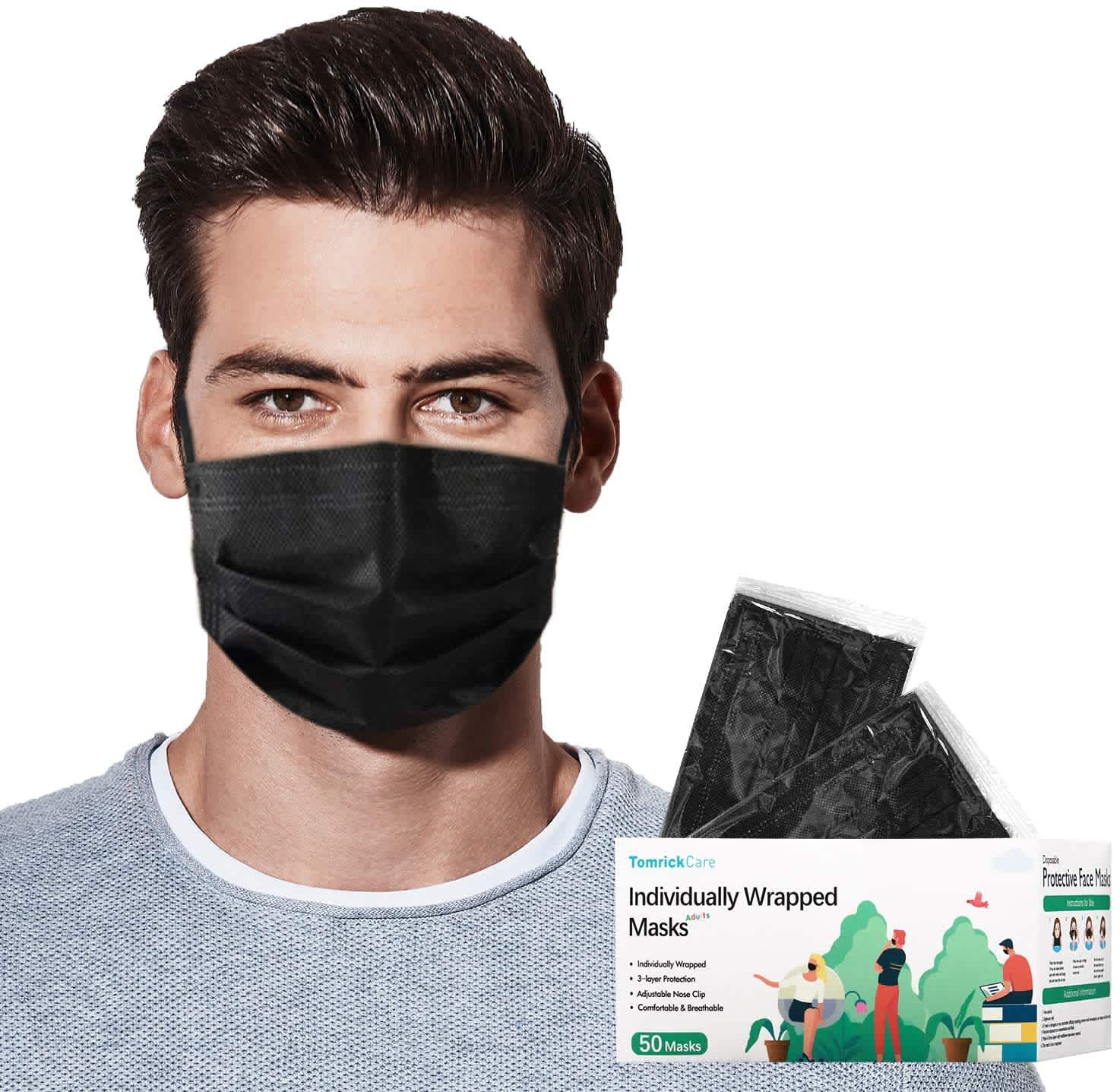 50 TomrickCare Individually Wrapped Adult Disposable Face Masks
