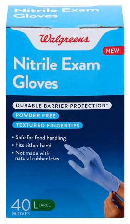 40-Count Walgreens Nitrile Exam Gloves (Large)
