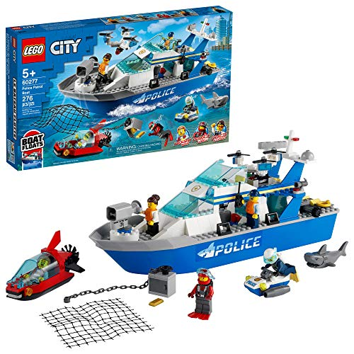 LEGO :City Police Patrol Boat 60277 Building Kit; Cool Police Toy for Kids