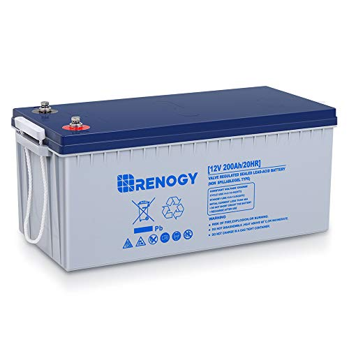 Renogy 12V 200AH Rechargeable Deep Cycle Hybrid Gel Battery for Solar Wind RV Marine Camping UPS Wheelchair Trolling Motor, Maintenance Free, Non Spillable