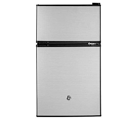 GE Appliances 3.1 Cubic Foot Freestanding Double Door Compact Refrigerator, Clean Steel