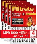 Filtrete 20x25x4, AC Furnace Air Filter, 4-pack