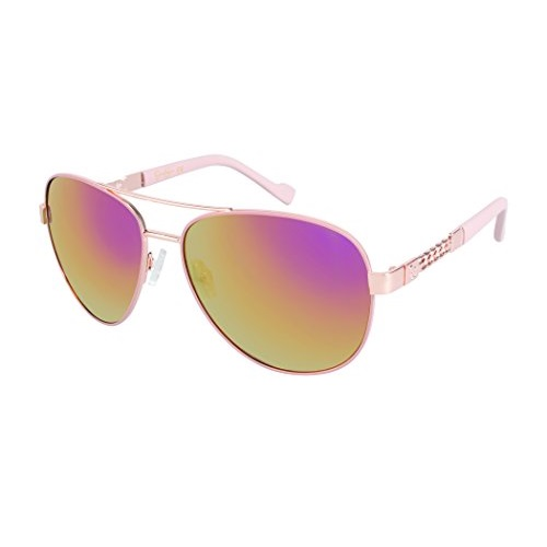 Jessica Simpson J5359 Sassy Metal UV Protective Chain Aviator Sunglasses | Wear All-Year | The Gift of Glam, 63 mm, Rose Gold/Rose