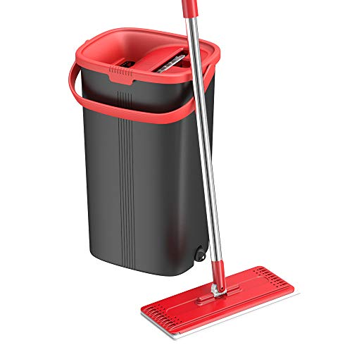 TETHYS Flat Floor Mop and Bucket Set for Professional Home Floor Cleaning System with Aluminum Handle/2-Washable Microfiber Pads Perfect Home + Kitchen Cleaner