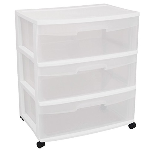 Sterilite 29308001 Wide 3 Drawer Cart, White Frame with Clear Drawers and Black Casters