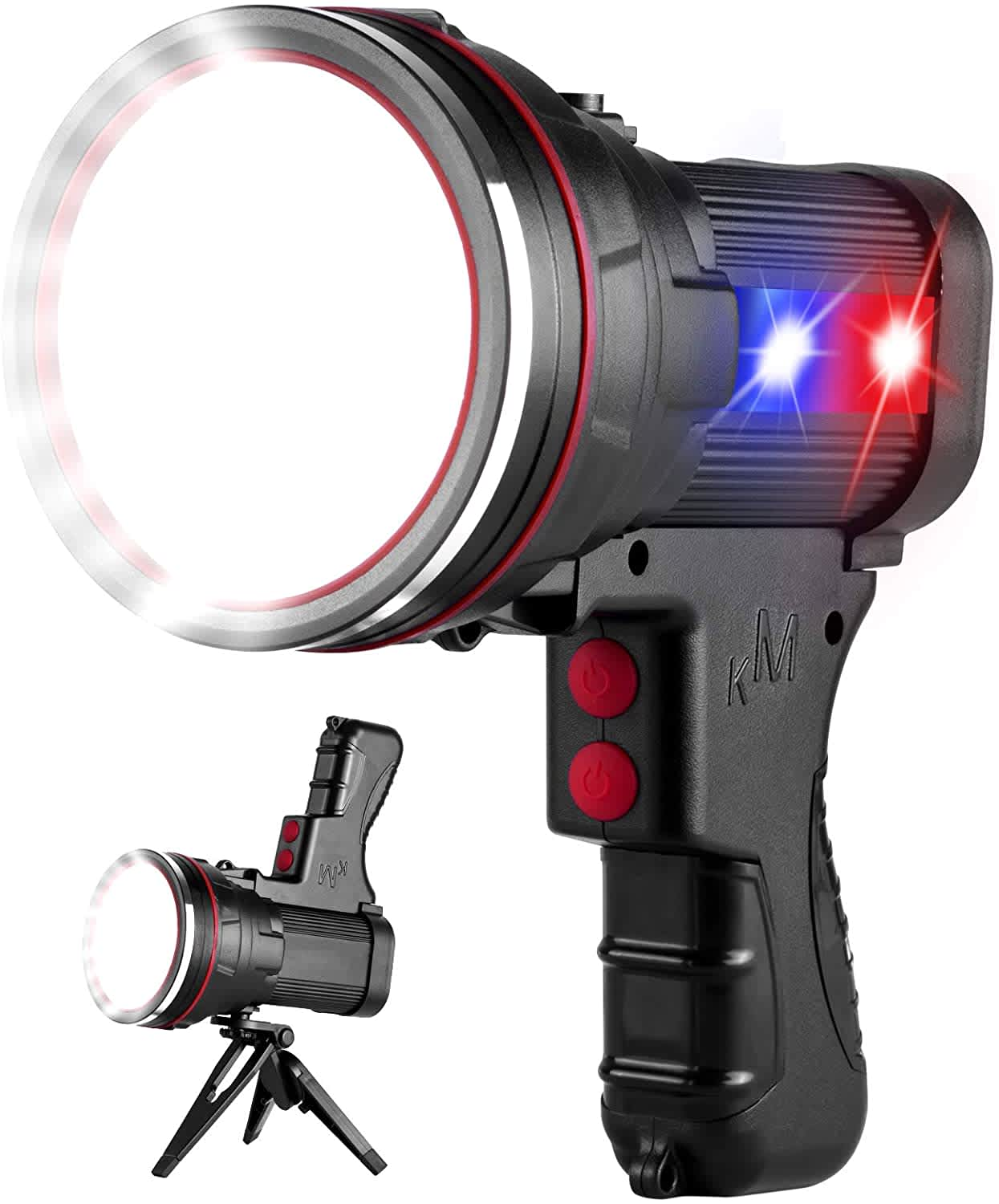Ocsmt LED Rechargeable Spotlight Flashlight with Tripod