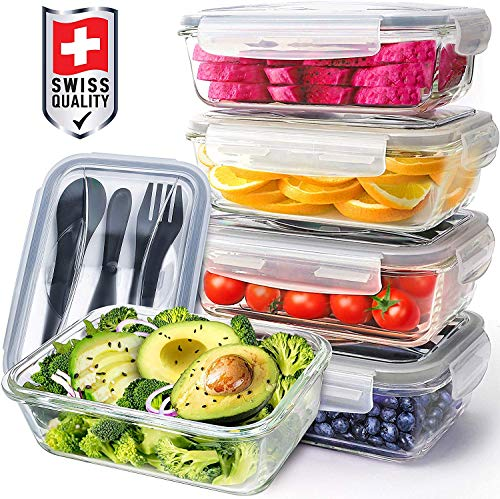Pohl+Schmitt Glass Meal Prep Containers - Food Prep with Lids and Utensils, Meal Prep - Food Storage Containers Airtight - Lunch Containers Portion Control Containers (5 Pack,30 Ounce)