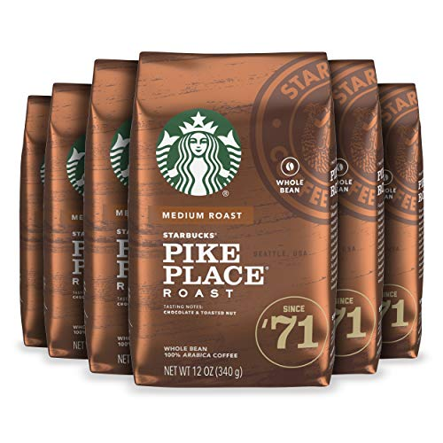 Starbucks Pike Place Roast Coffee Medium Roast Whole Bean Coffee, 12-Ounce Bag (Pack of 6)