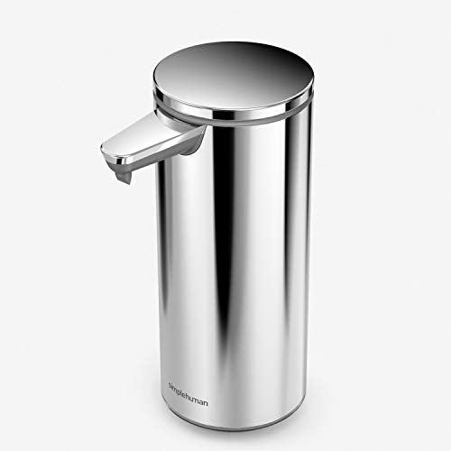 simplehuman 9 oz. Touch-Free Rechargeable Sensor Liquid Soap Pump Dispenser, Polished Stainless Steel