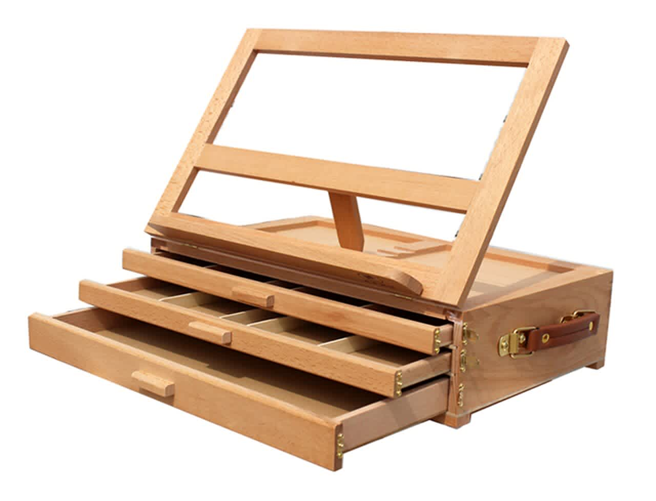 Beech Burlywood 3-Drawer Tabletop Easel