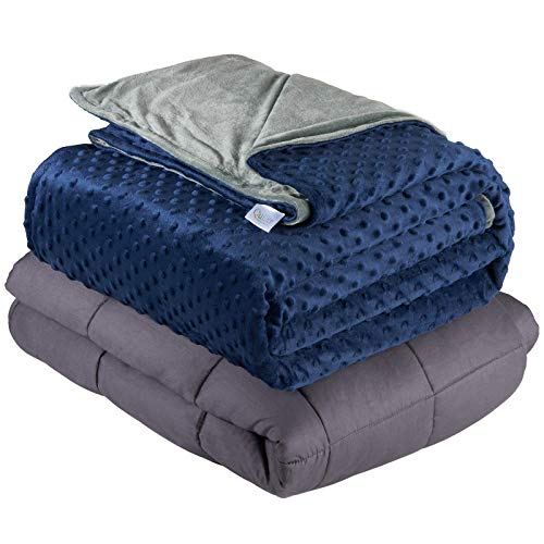 "Quility Weighted Blanket for Adults - Queen Size, 60""x80"", 20 lbs - Heavy Heating Blankets for Restlessness - Grey, Navy Cover"