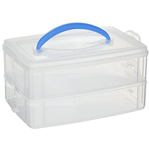 Snapware Snap 'N Stack 2层叠加储物盒,9.8 x 6.6 x 2.5吋