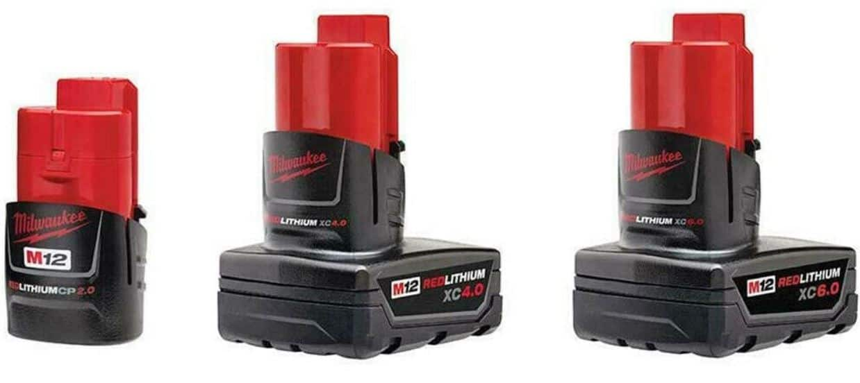 3-Pack Milwaukee M12 RedLithium Batteries: 2Ah, 4Ah & 6Ah