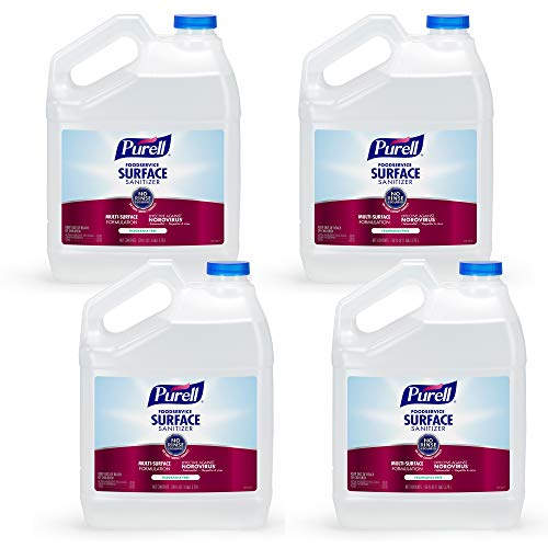 PURELL Foodservice Surface Sanitizer, Pour Gallon EPA Certified Surface Sanitizer (Pack of 4) - 4341-04,Clear