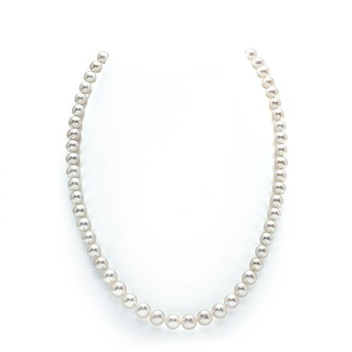 The Pearl Source 14K Gold White Freshwater Cultured Pearl Necklace, 18 Inch Princess Length