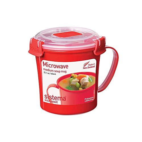 Sistema Microwave Collection Soup Mug 22.1 oz, Red