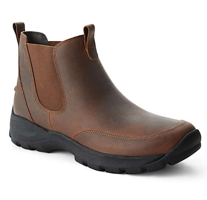 Lands' End Men's All Weather Leather Slip On Chelsea Boots
