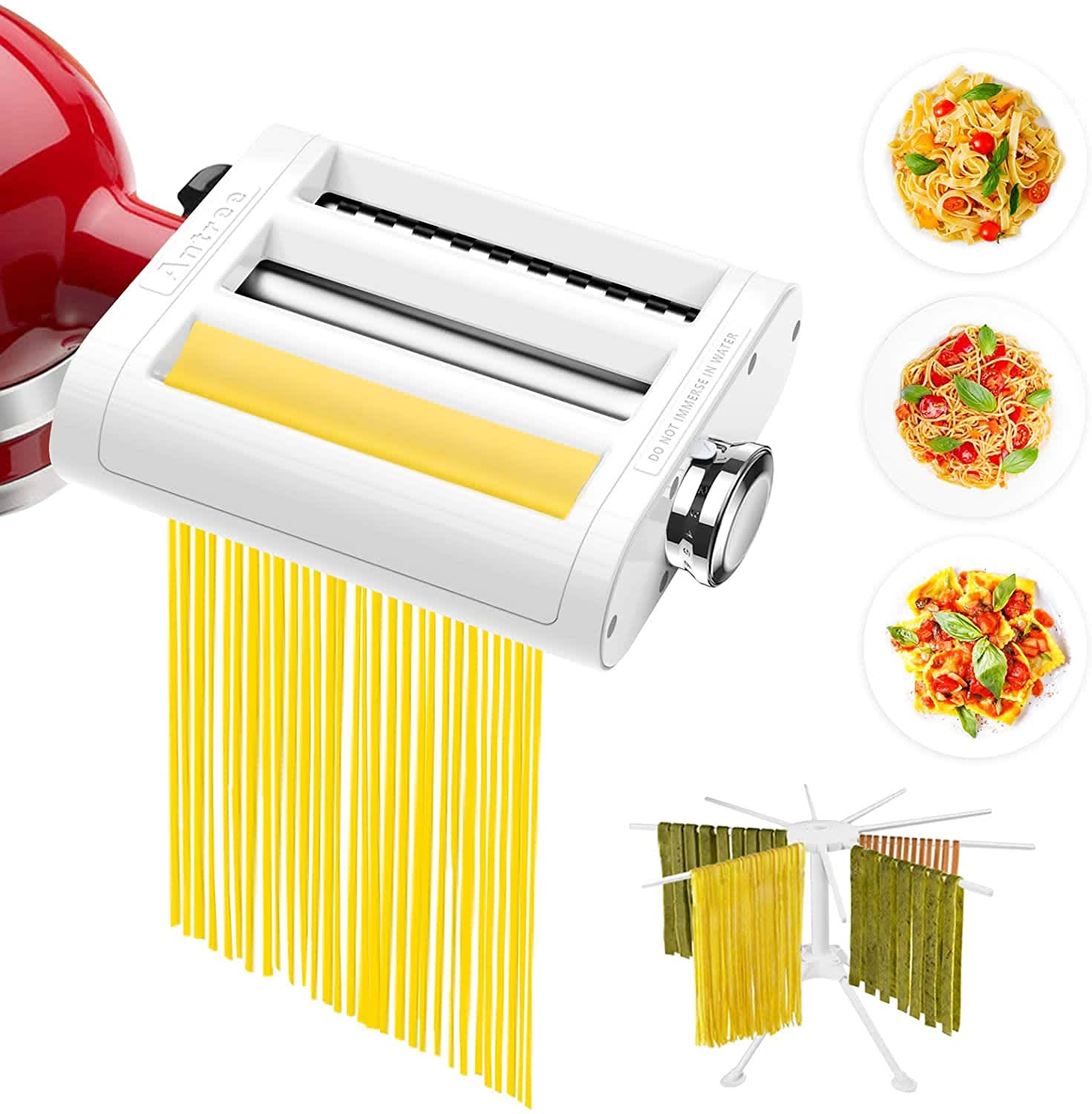 Antree 3-in-1 Pasta Roller and Cutters Set for KitchenAid Stand Mixers