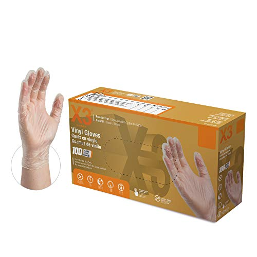 X3 Clear Vinyl Industrial Gloves, Box of 100, 3 Mil, Size Large, Latex Free