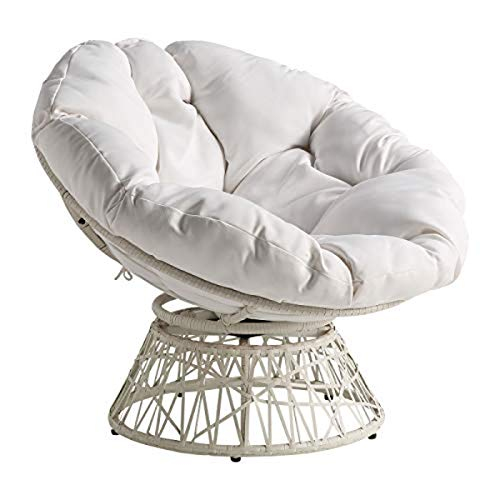 OSP Home Furnishings Wicker Papasan Chair with 360-Degree Swivel