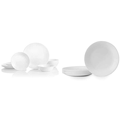 Corelle Service for 6, Chip Resistant, Winter Frost White Dinnerware Set, 18-Piece & Winter Frost White Lunch Plates Set (8-1/2-Inch, 6-Piece, White)