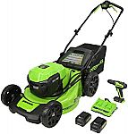 Greenworks Push Mower + Brushless Drill + Batteries & Chargers