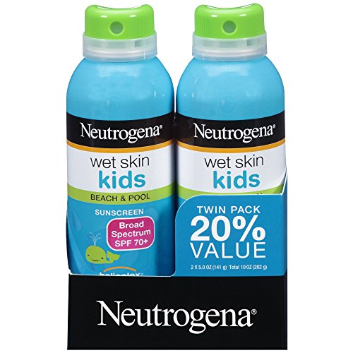Neutrogena Wet Skin Kids Sunscreen Spray, Water-Resistant and Oil-Free, Broad Spectrum SPF 70+, 5 oz, 2 Pack